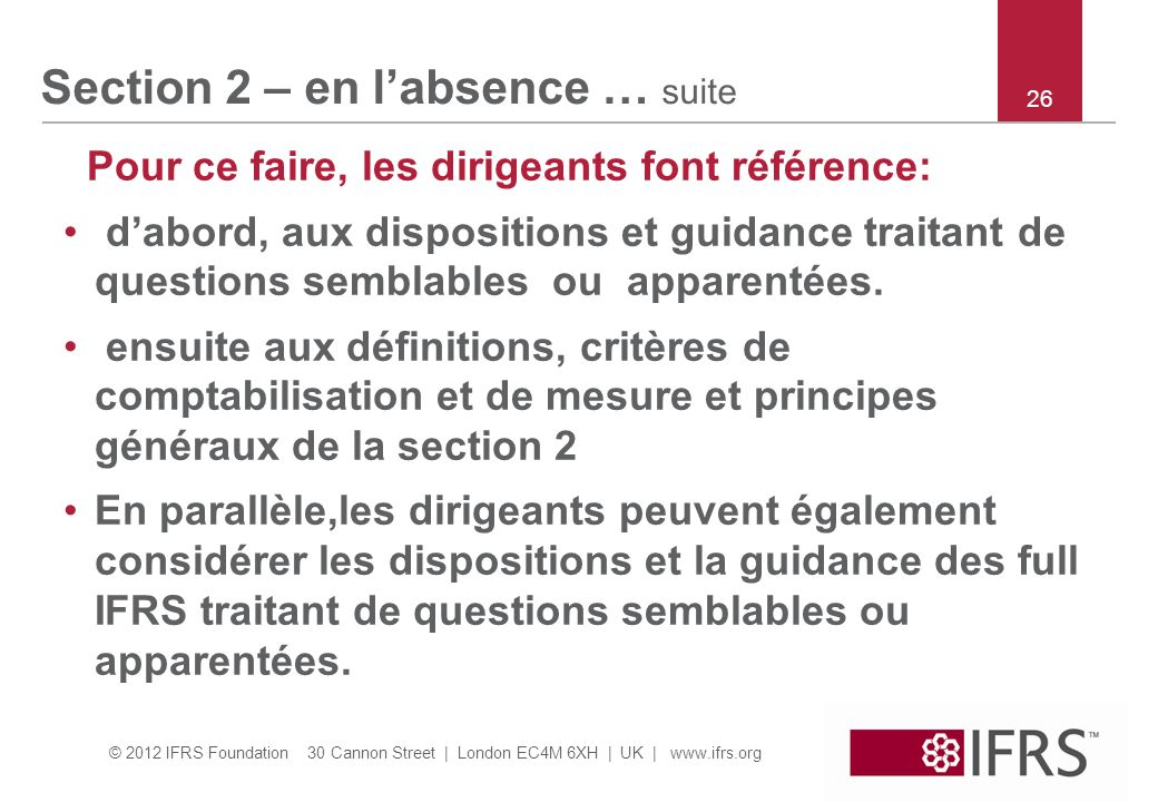 Section 2 – en l'absence … suite