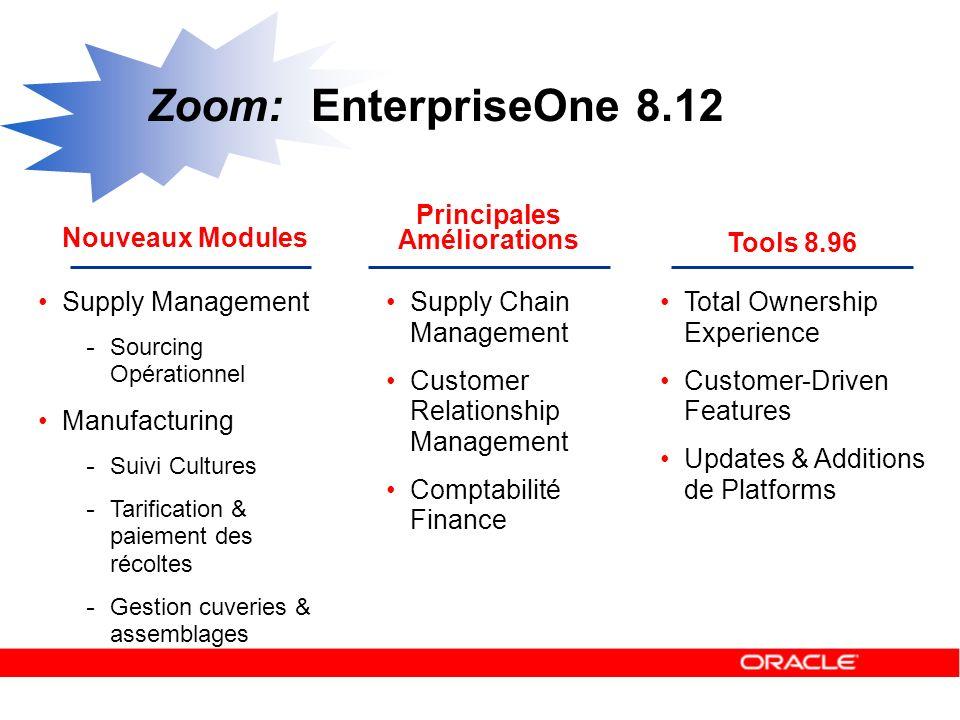 Zoom: EnterpriseOne 8.12 Principales Améliorations Nouveaux Modules