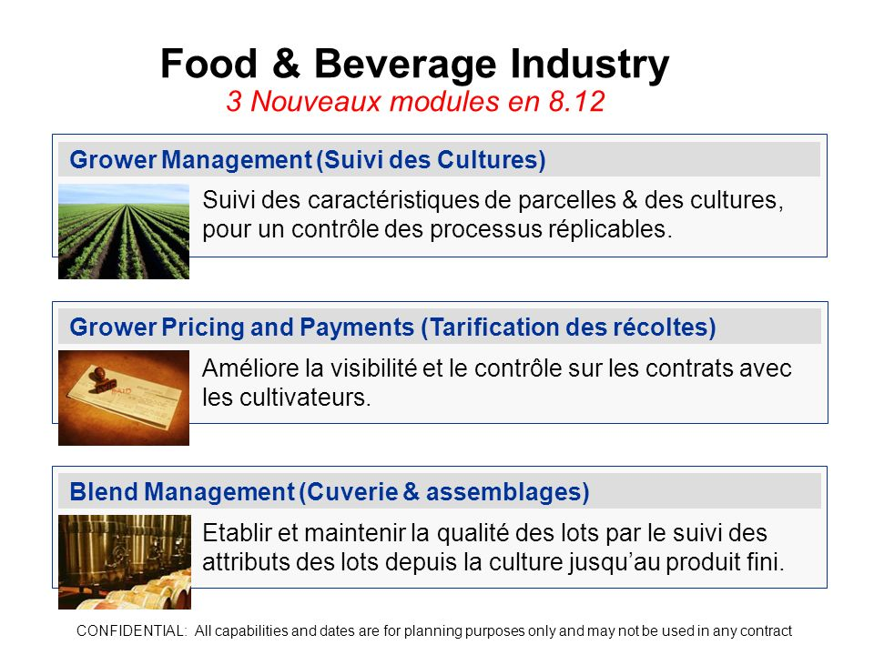 Food & Beverage Industry 3 Nouveaux modules en 8.12