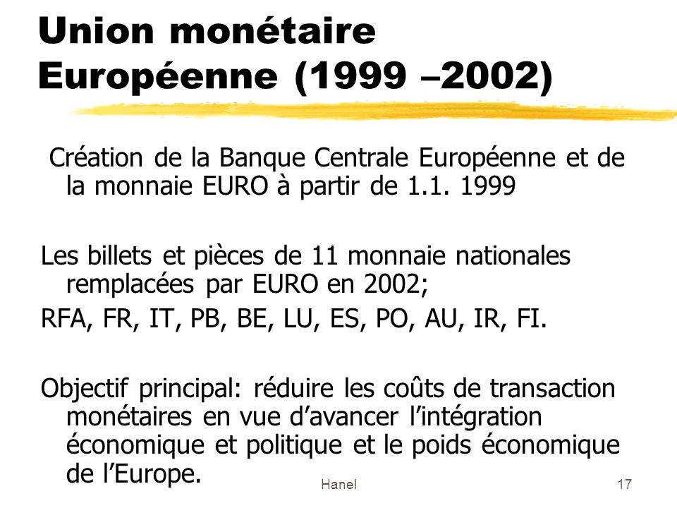 Union monétaire Européenne (1999 –2002)