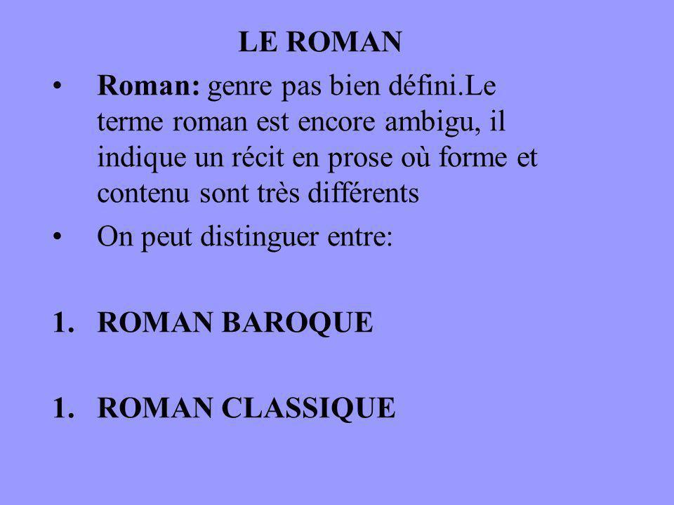 LE ROMAN Roman: genre pas bien défini.Le terme roman est encore ambigu, il indique un récit en prose où forme et contenu sont très différents.
