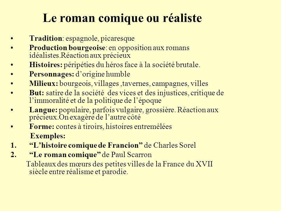 Le roman comique ou réaliste