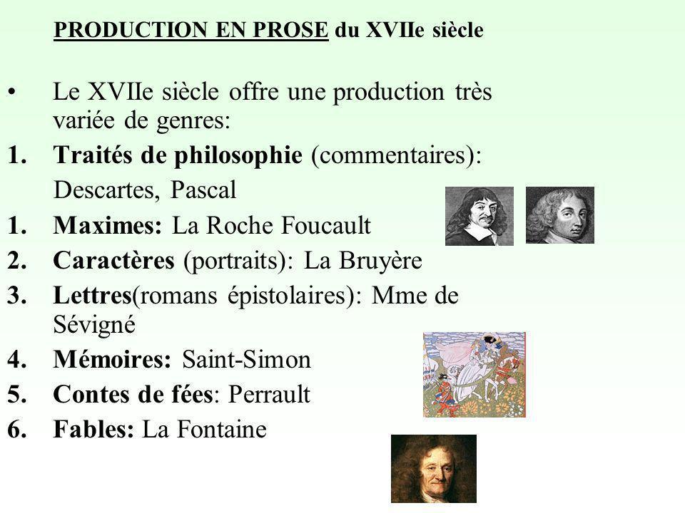 PRODUCTION EN PROSE du XVIIe siècle