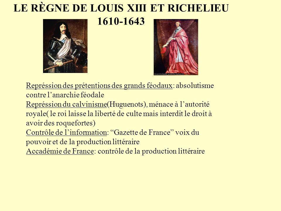 LE RÈGNE DE LOUIS XIII ET RICHELIEU 1610-1643