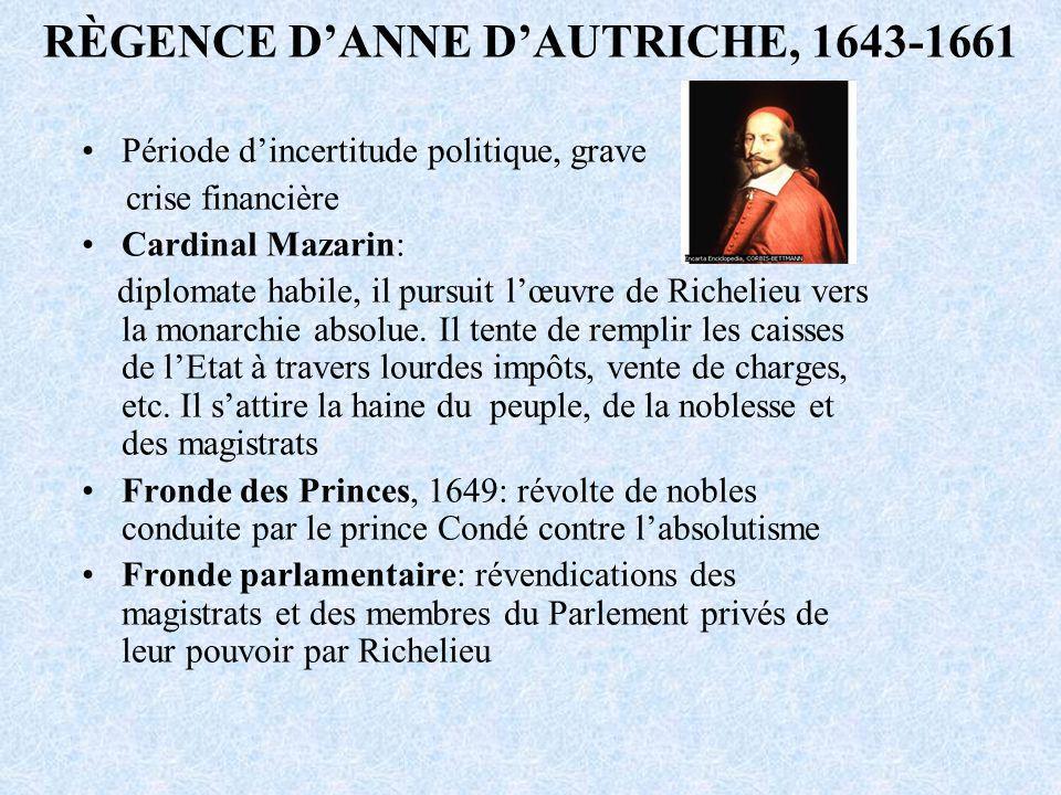 RÈGENCE D'ANNE D'AUTRICHE, 1643-1661