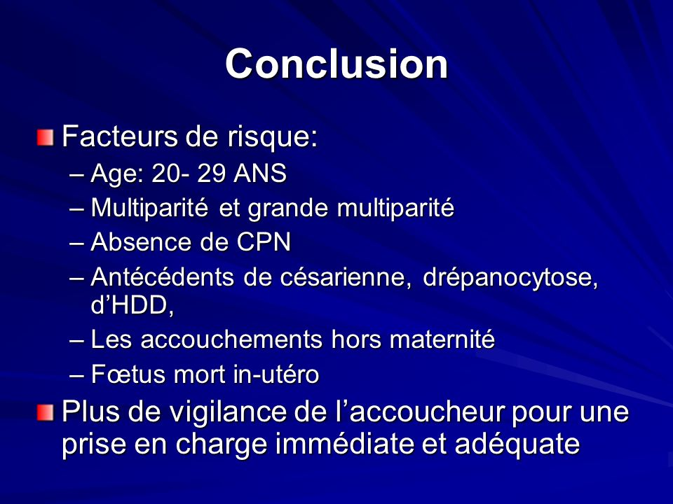 Conclusion Facteurs de risque: