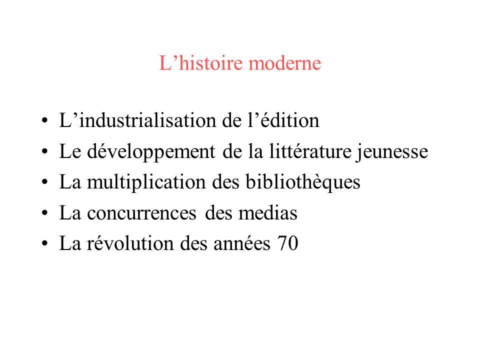 L'histoire moderne L'industrialisation de l'édition. Le développement de la littérature jeunesse. La multiplication des bibliothèques.