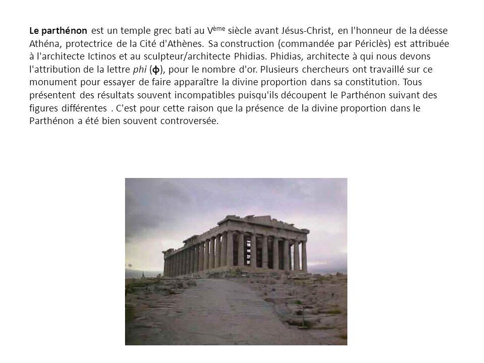 Le parthénon est un temple grec bati au Vème siècle avant Jésus-Christ, en l honneur de la déesse Athéna, protectrice de la Cité d Athènes.