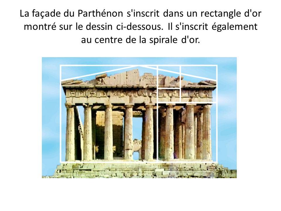 La façade du Parthénon s inscrit dans un rectangle d or montré sur le dessin ci-dessous.