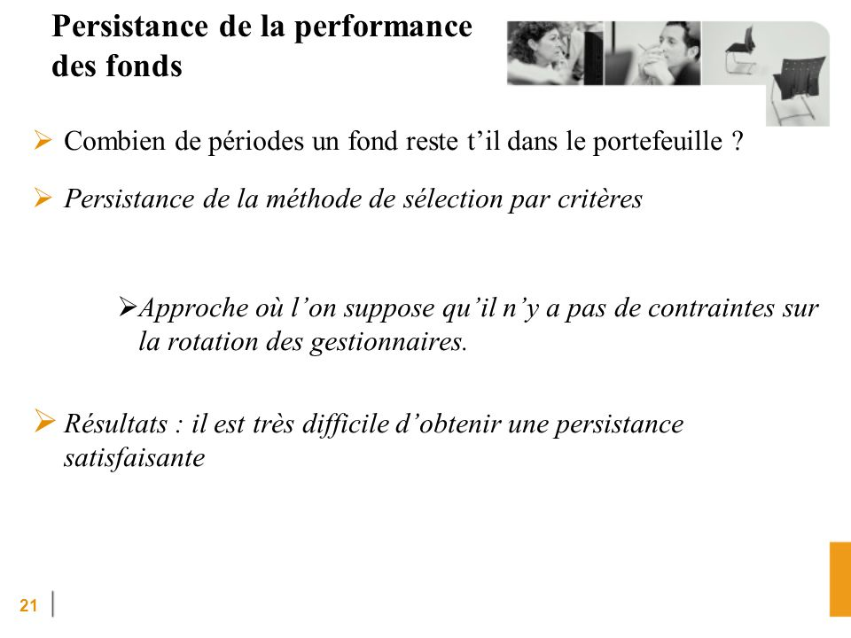 Persistance de la performance des fonds