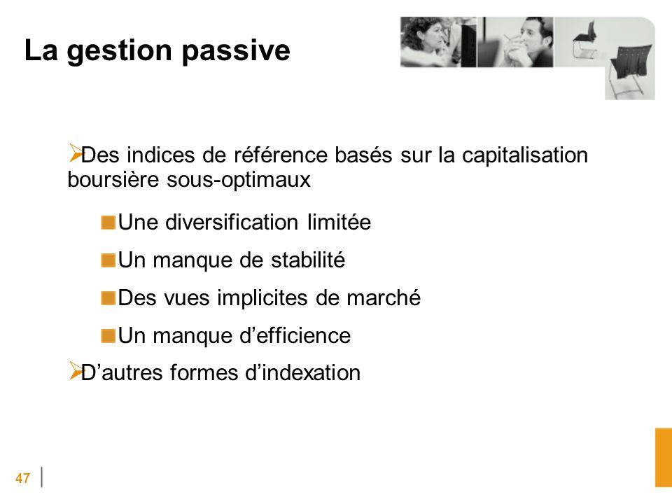 La gestion passive Des indices de référence basés sur la capitalisation boursière sous-optimaux. Une diversification limitée.