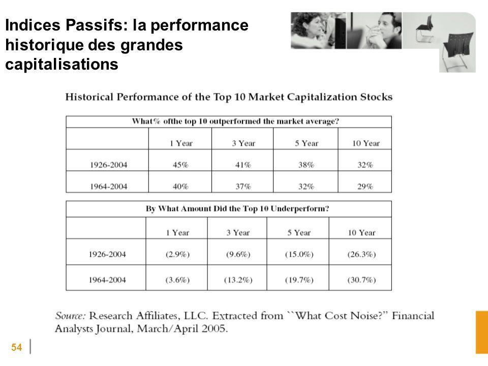 Indices Passifs: la performance historique des grandes capitalisations