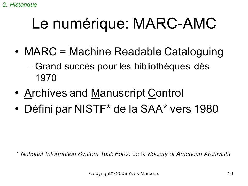 Le numérique: MARC-AMC