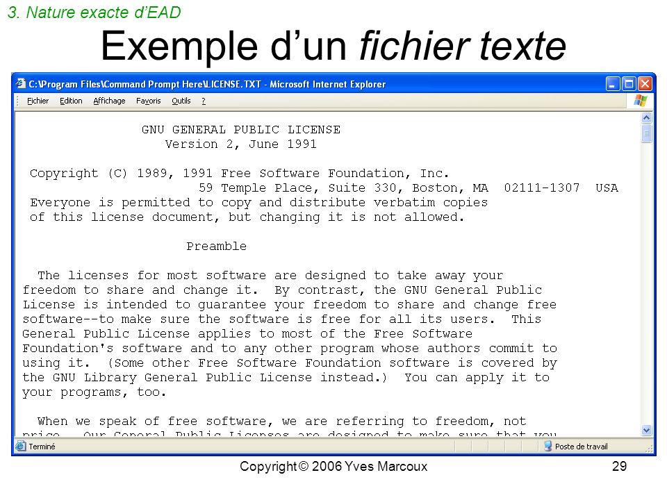 Exemple d'un fichier texte