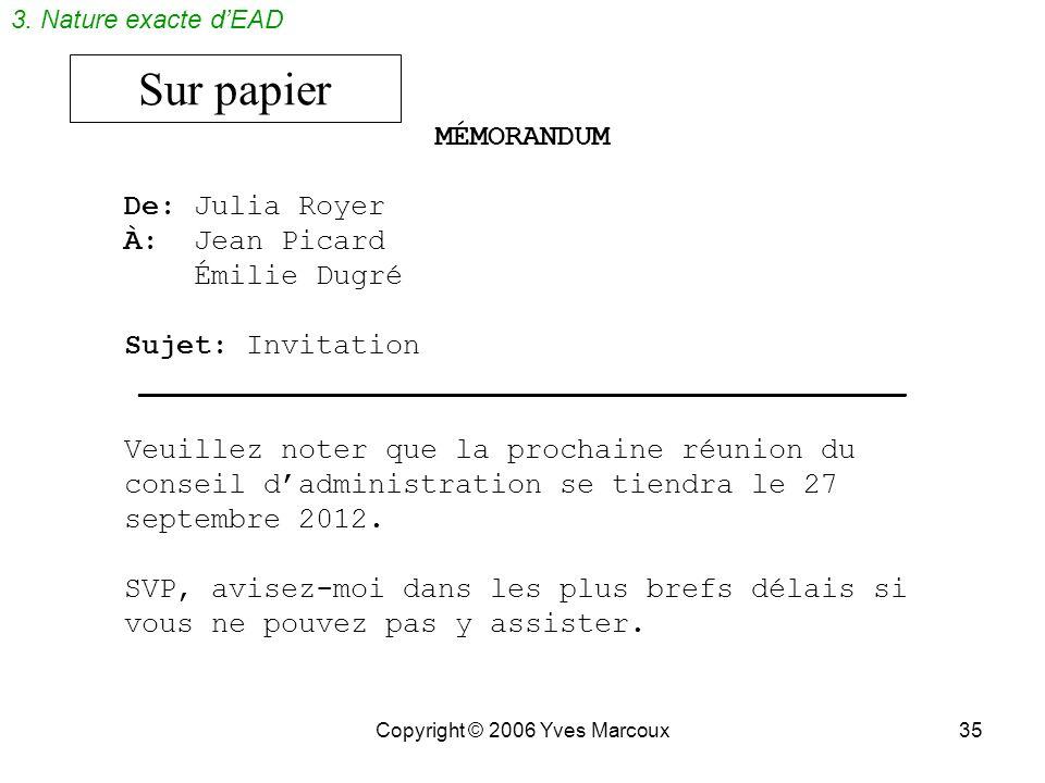 Sur papier MÉMORANDUM De: Julia Royer À: Jean Picard Émilie Dugré