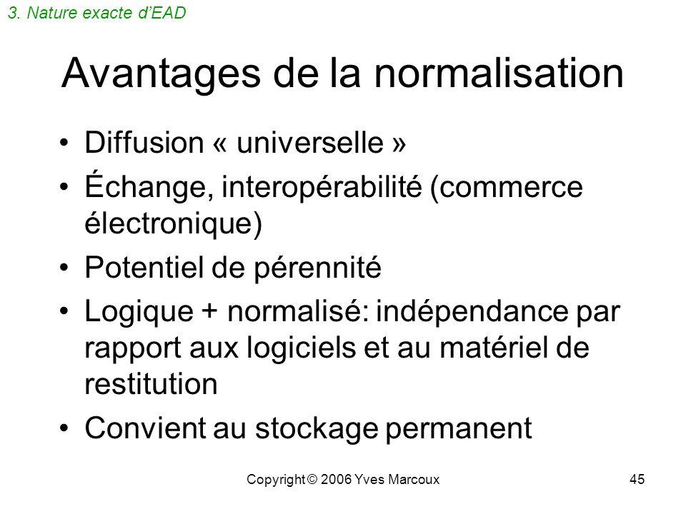 Avantages de la normalisation