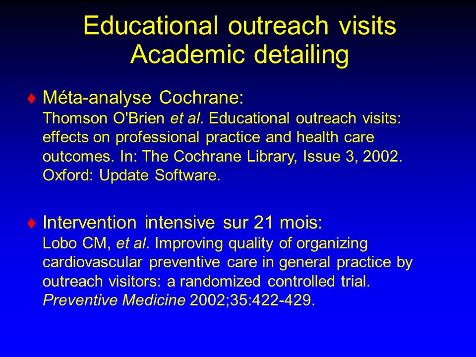 Educational outreach visits Academic detailing