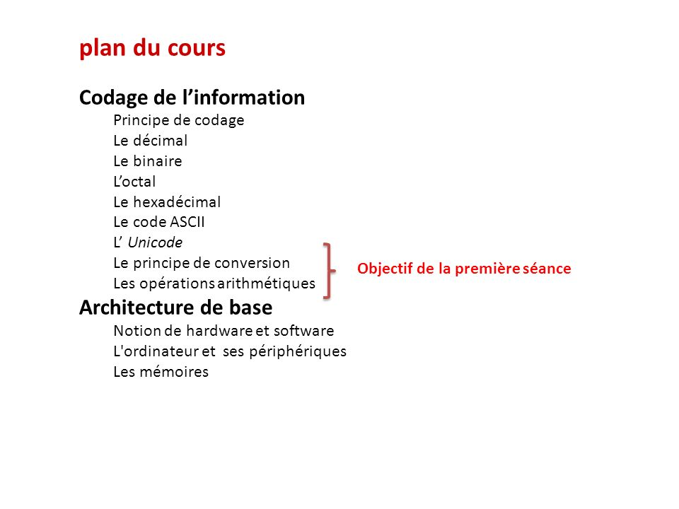 plan du cours Codage de l'information Architecture de base