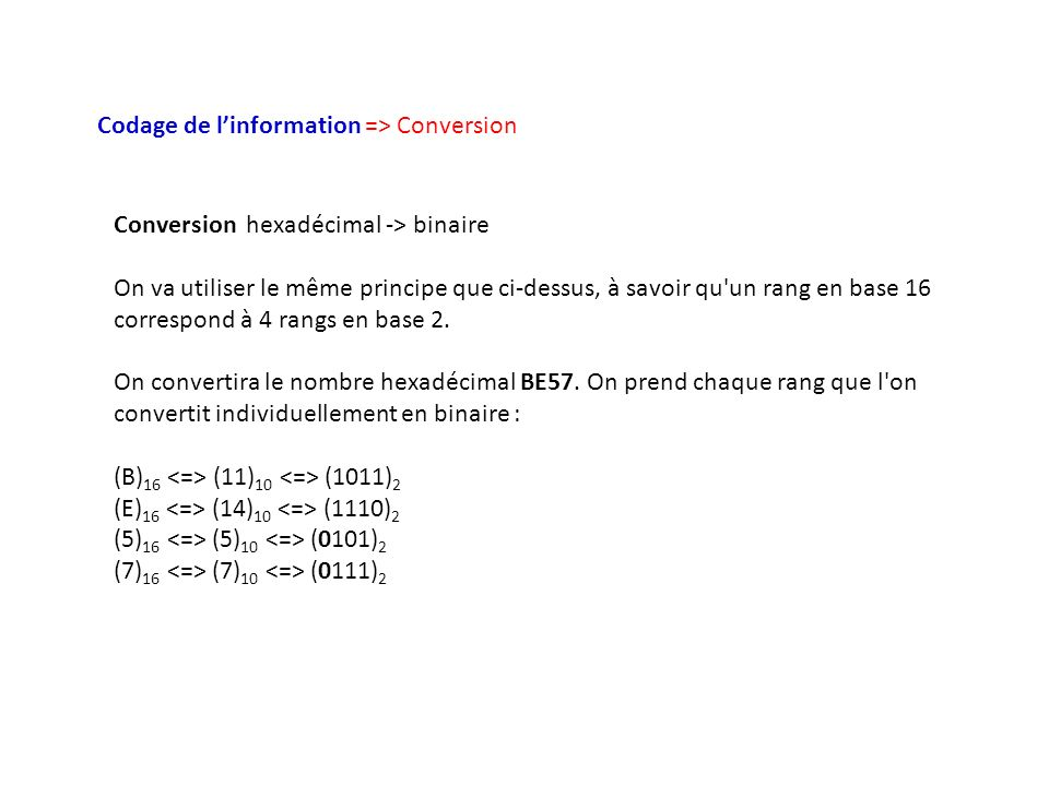 Codage de l'information => Conversion