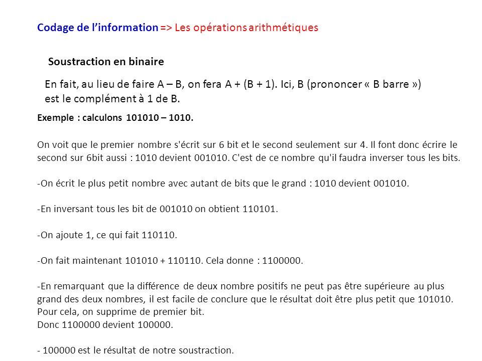 Codage de l'information => Les opérations arithmétiques