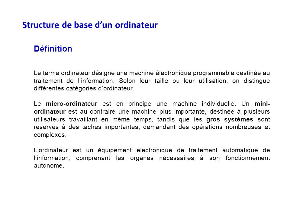 Structure de base d'un ordinateur