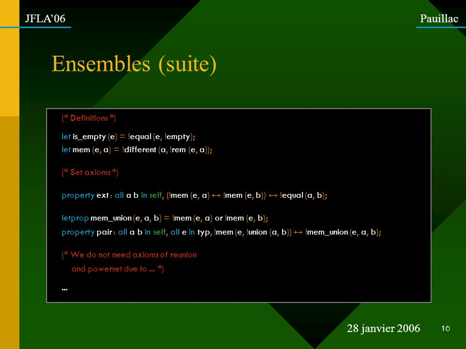 Ensembles (suite) (* Definitions *)