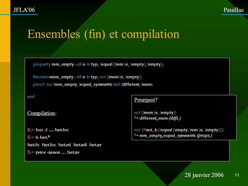 Ensembles (fin) et compilation