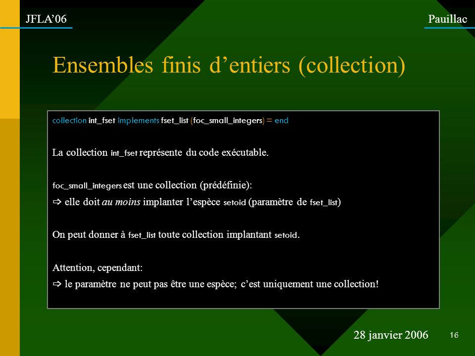 Ensembles finis d'entiers (collection)