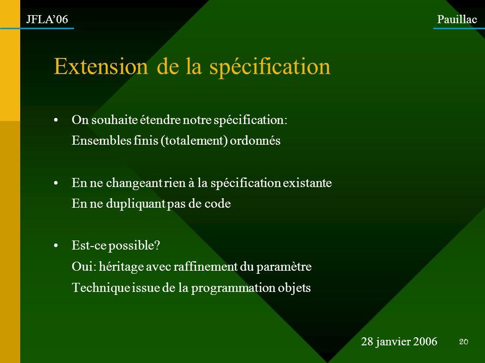 Extension de la spécification