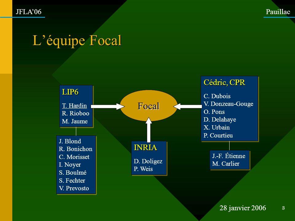 L'équipe Focal Focal Cédric, CPR LIP6 INRIA C. Dubois V. Donzeau-Gouge