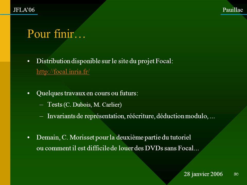 Pour finir… Distribution disponible sur le site du projet Focal: