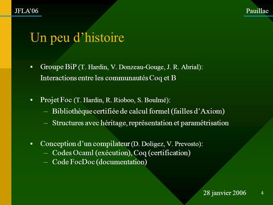 Un peu d'histoire Groupe BiP (T. Hardin, V. Donzeau-Gouge, J. R. Abrial): Interactions entre les communautés Coq et B.