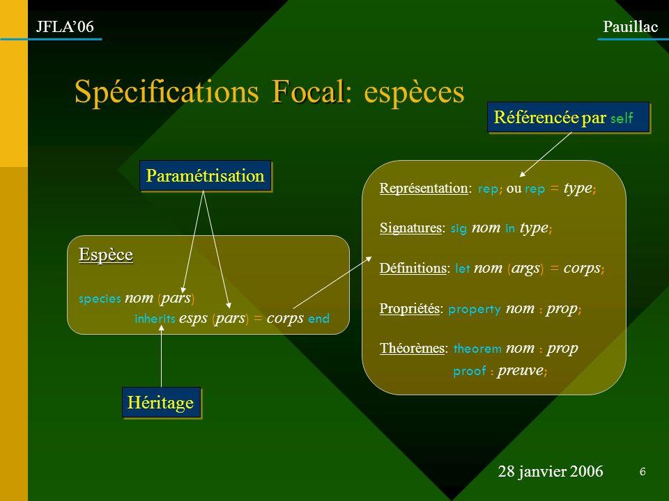 Spécifications Focal: espèces