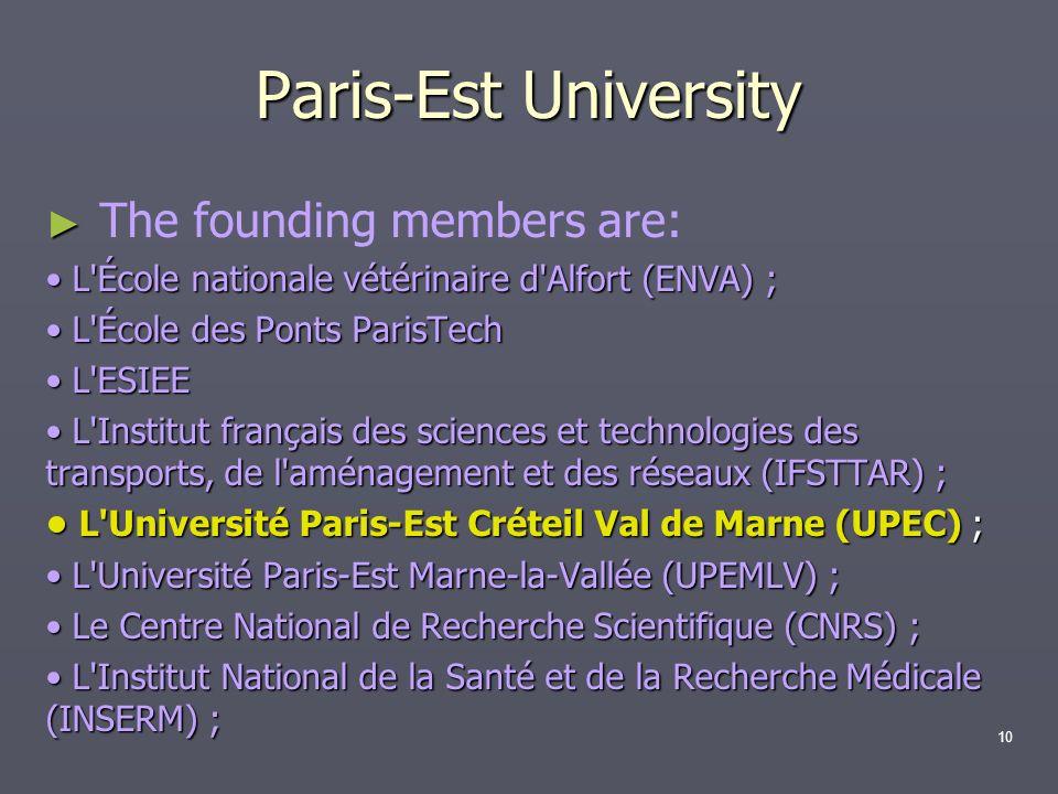 Paris-Est University The founding members are: