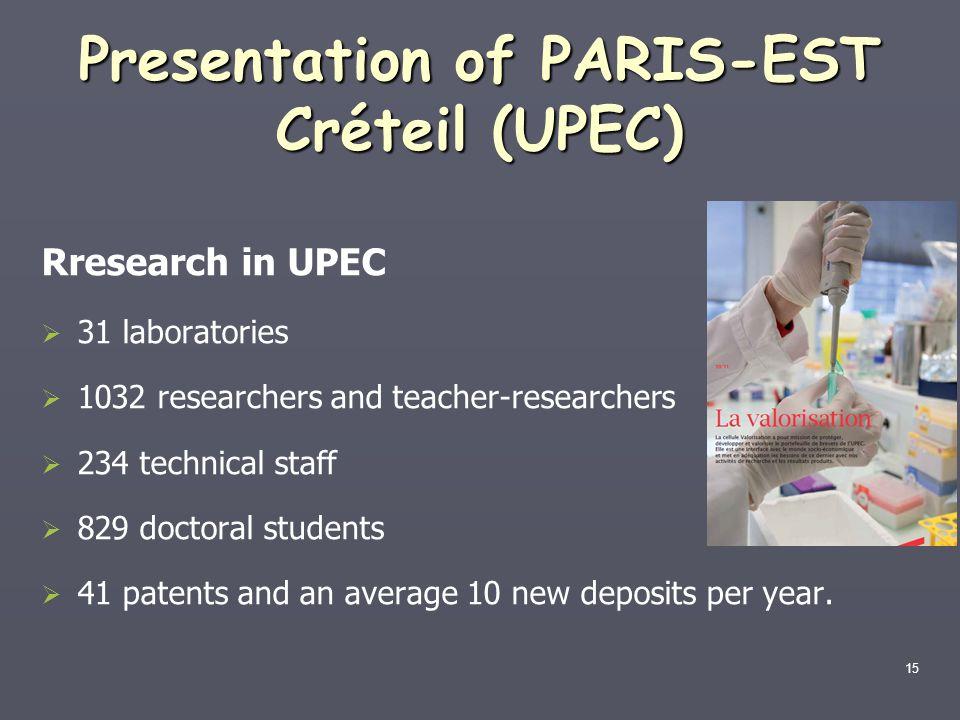 Presentation of PARIS-EST Créteil (UPEC)
