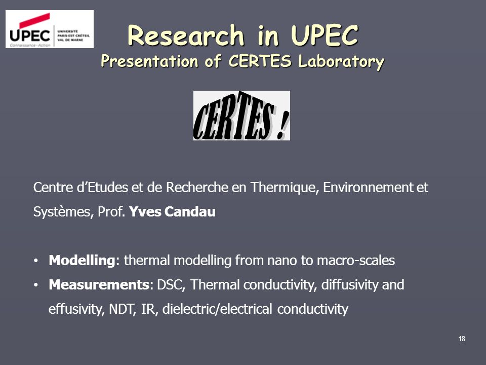 Research in UPEC Presentation of CERTES Laboratory