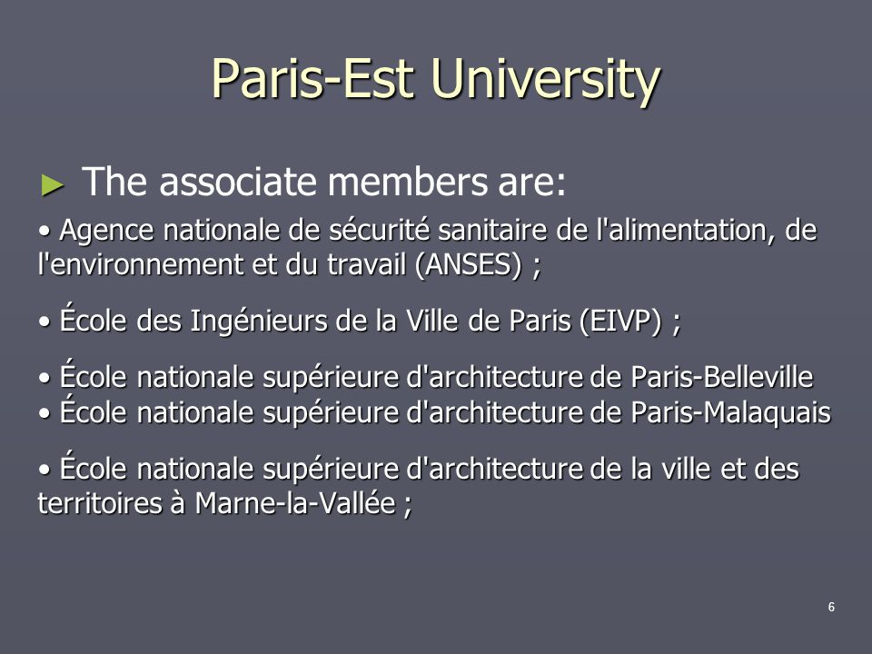 Paris-Est University The associate members are: