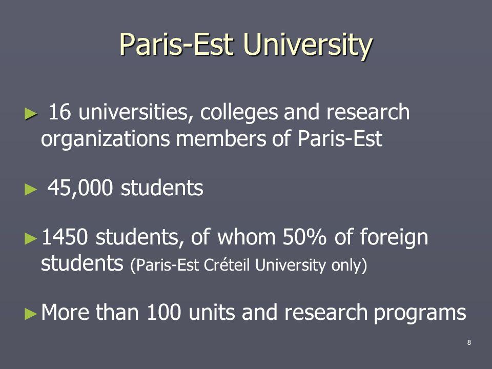 Paris-Est University 16 universities, colleges and research organizations members of Paris-Est. 45,000 students.