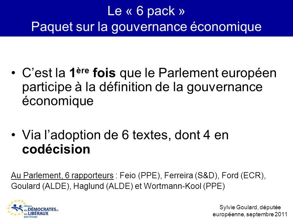 Le « 6 pack » Paquet sur la gouvernance économique