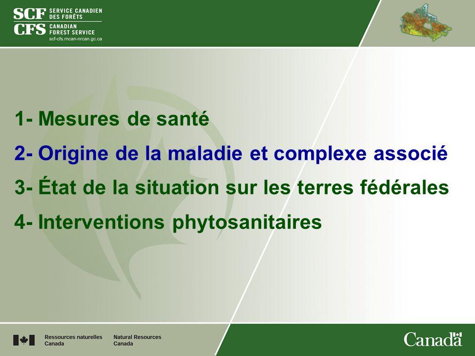 1- Mesures de santé 2- Origine de la maladie et complexe associé 3- État de la situation sur les terres fédérales.