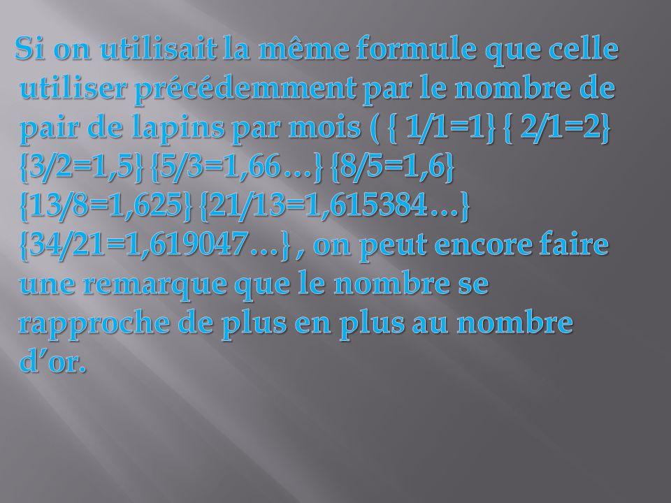 Si on utilisait la même formule que celle utiliser précédemment par le nombre de pair de lapins par mois ( { 1/1=1} { 2/1=2} {3/2=1,5} {5/3=1,66…} {8/5=1,6} {13/8=1,625} {21/13=1,615384…} {34/21=1,619047…} , on peut encore faire une remarque que le nombre se rapproche de plus en plus au nombre d'or.