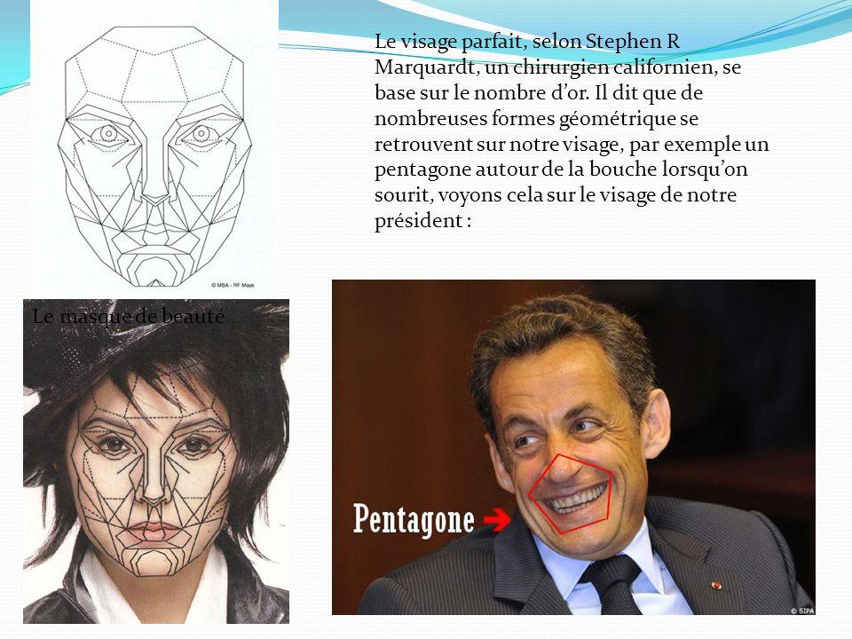 Le visage parfait, selon Stephen R Marquardt, un chirurgien californien, se base sur le nombre d'or. Il dit que de nombreuses formes géométrique se retrouvent sur notre visage, par exemple un pentagone autour de la bouche lorsqu'on sourit, voyons cela sur le visage de notre président :