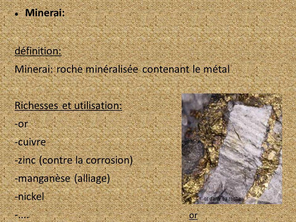 Minerai: définition: Minerai: roche minéralisée contenant le métal. Richesses et utilisation: -or.