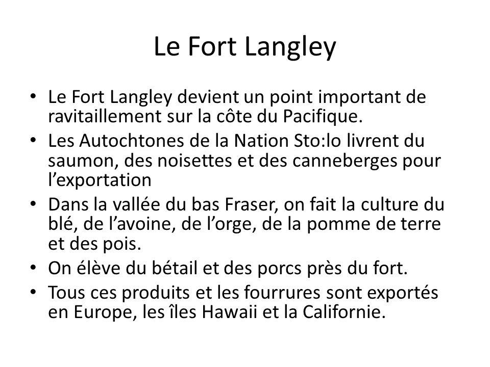 Le Fort Langley Le Fort Langley devient un point important de ravitaillement sur la côte du Pacifique.