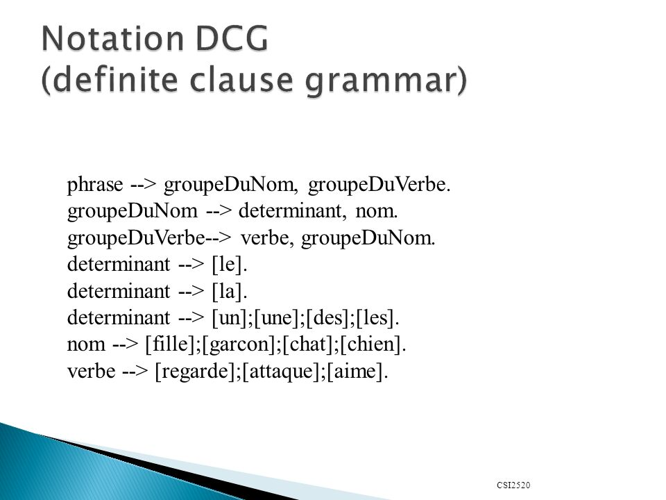 Notation DCG (definite clause grammar)