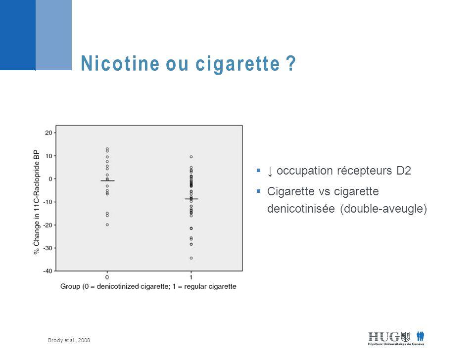 Nicotine ou cigarette ↓ occupation récepteurs D2
