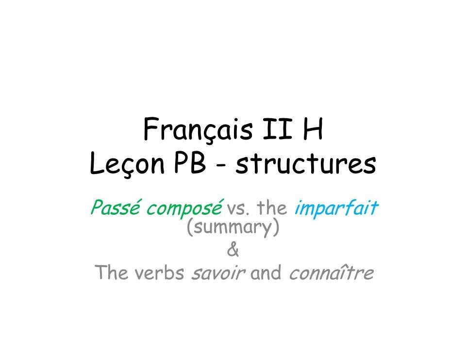 Français II H Leçon PB - structures