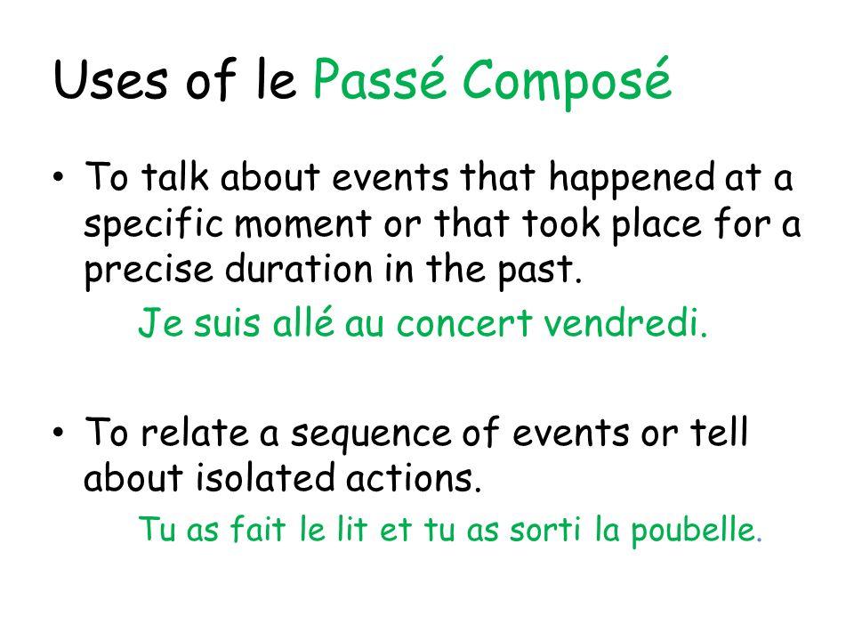 Uses of le Passé Composé