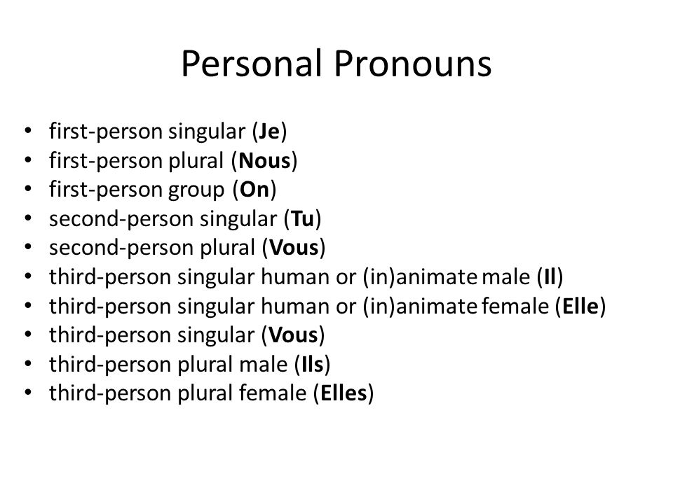 Personal Pronouns first-person singular (Je)