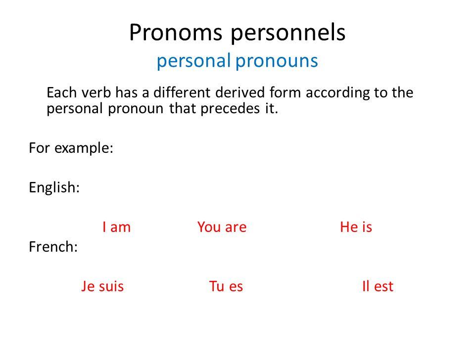 Pronoms personnels personal pronouns